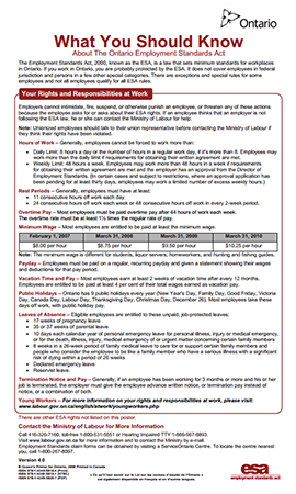 Ontario's Employment Standards Poster is required to be displayed in Canadian workplaces. Call The Payroll Edge to get employer of record services